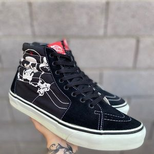 Vans Sk8-Hi Black Skull Mens Hi Top Sneakers 9.5